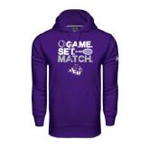 Under Armour Purple Performance Sweats Team Hoodie-Game Set Match Tennis Design