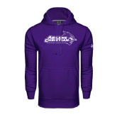 Under Armour Purple Performance Sweats Team Hoodie-Primary Logo