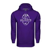 Under Armour Purple Performance Sweats Team Hoodie-Tall Football Design
