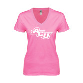 ACU Wildcat Next Level Ladies Junior Fit Deep V Pink Tee-Angled ACU