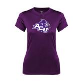 ACU Wildcat Ladies Syntrel Performance Purple Tee-Angled ACU w/Wildcat Head