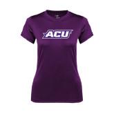 ACU Wildcat Ladies Syntrel Performance Purple Tee-ACU