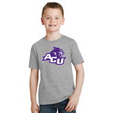 ACU Wildcat Youth Grey T-Shirt-Angled ACU w/Wildcat Head