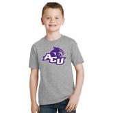 ACU Wildcat Youth Grey T-Shirt-Angled ACU w/Wildcat Head