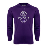 ACU Wildcat Under Armour Purple Long Sleeve Tech Tee-Tall Football Design