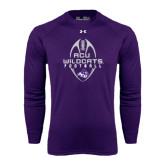 ACU Wildcat Under Armour Purple Long Sleeve Tech Tee-Tall Football Design