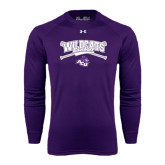 ACU Wildcat Under Armour Purple Long Sleeve Tech Tee-Baseball Crossed Bats Design