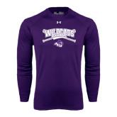 ACU Wildcat Under Armour Purple Long Sleeve Tech Tee-Baseball Crossed Bats Design