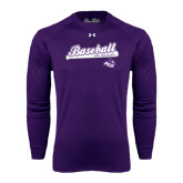 ACU Wildcat Under Armour Purple Long Sleeve Tech Tee-Baseball Script w/ Bat Design