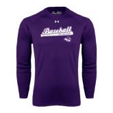 ACU Wildcat Under Armour Purple Long Sleeve Tech Tee-Baseball Script w/ Bat Design
