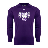 ACU Wildcat Under Armour Purple Long Sleeve Tech Tee-Softball Bats and Plate Design