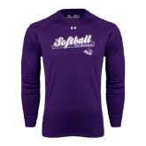 ACU Wildcat Under Armour Purple Long Sleeve Tech Tee-Softball Script w/ Bat Design