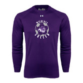 ACU Wildcat Under Armour Purple Long Sleeve Tech Tee-Soccer Ball Design