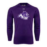 Under Armour Purple Long Sleeve Tech Tee-Angled ACU w/Wildcat Head