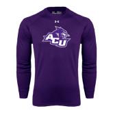 Under Armour Purple Long Sleeve Tech Tee-Angled ACU w/Wildcat Head
