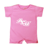 Bubble Gum Pink Infant Romper-Angled ACU