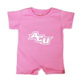 Abilene Christian Bubble Gum Pink Infant Romper-Angled ACU