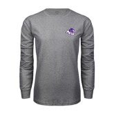 Grey Long Sleeve TShirt-Angled ACU w/Wildcat Head