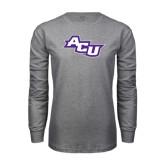 Abilene Christian Grey Long Sleeve TShirt-Angled ACU