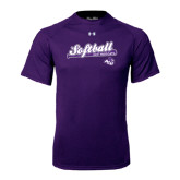 ACU Wildcat Under Armour Purple Tech Tee-Softball Script w/ Bat Design