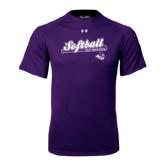 Under Armour Purple Tech Tee-Softball Script w/ Bat Design