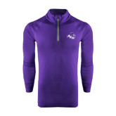 Under Armour Purple Tech 1/4 Zip Performance Shirt-Angled ACU w/Wildcat Head