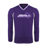 ACU Wildcat Colorblock V Neck Purple/White Raglan Windshirt-Primary Logo