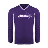 ACU Wildcat Colorblock V Neck Purple/White Raglan Windshirt-Primary Logo