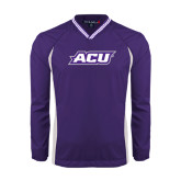 ACU Wildcat Colorblock V Neck Purple/White Raglan Windshirt-ACU
