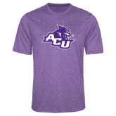 ACU Wildcat Performance Purple Heather Contender Tee-Angled ACU w/Wildcat Head