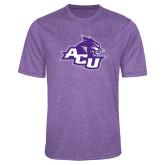 ACU Wildcat Performance Purple Heather Contender Tee-Angled ACU w/Wildcat Head