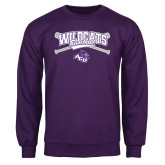 ACU Wildcat Purple Fleece Crew-Baseball Crossed Bats Design