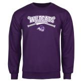 Purple Fleece Crew-Baseball Crossed Bats Design