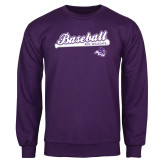 Purple Fleece Crew-Baseball Script w/ Bat Design