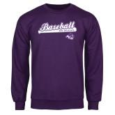 Purple Fleece Crew-Baseball Script w/ Bat Design