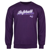Purple Fleece Crew-Softball Script w/ Bat Design