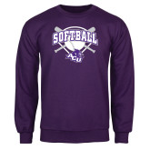 ACU Wildcat Purple Fleece Crew-Softball Bats and Plate Design