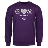 Purple Fleece Crew-Just Kick It Soccer Design