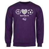 Purple Fleece Crew-Just Kick It Soccer Design