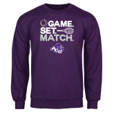 ACU Wildcat Purple Fleece Crew-Game Set Match Tennis Design
