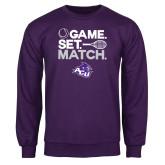 Purple Fleece Crew-Game Set Match Tennis Design