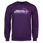 ACU Wildcat Purple Fleece Crew-Primary Logo
