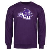 Purple Fleece Crew-Angled ACU w/Wildcat Head