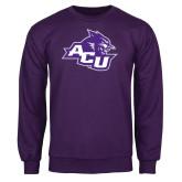 Purple Fleece Crew-Angled ACU w/Wildcat Head