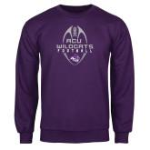 Purple Fleece Crew-Tall Football Design