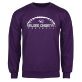 Purple Fleece Crew-Wide Football Design