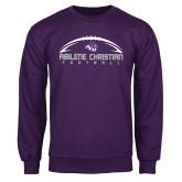 Purple Fleece Crew-Wide Football Design