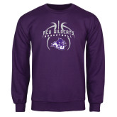 Purple Fleece Crew-Design On Basketball