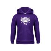 Youth Purple Fleece Hoodie-Softball Bats and Plate Design