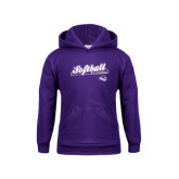 Youth Purple Fleece Hoodie-Softball Script w/ Bat Design